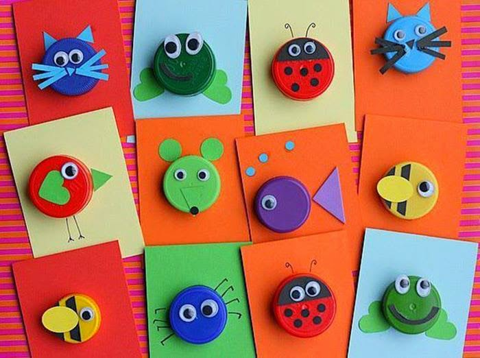 Animal Craft Uses Bottle Cap Easy Arts And Crafts Ideas
