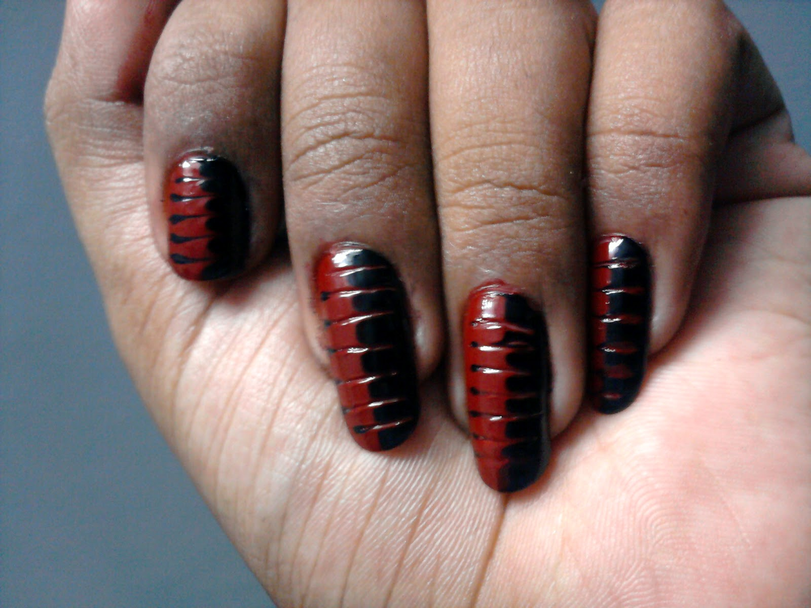 Polish Corner @abinaya4m : Red and Black Drag nail art