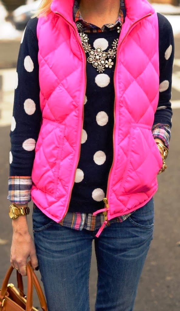 Fashionable Pink Comfy Vest with Cute Sweater, Jeans, Shirt and Accessories
