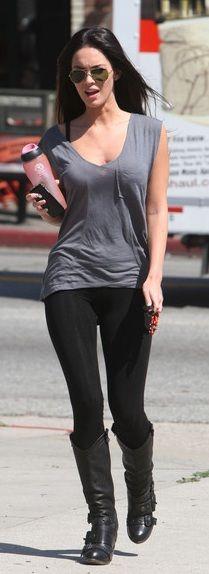 Megan Fox leather celebrityleatherfashions.blogspot.com