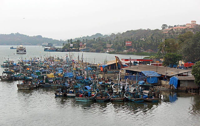 parked fishing trawlers in Goa