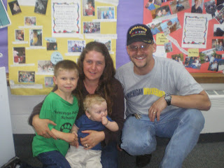 Family picture 1st day of kindergarten Vera wilsie Newaygo Michigan