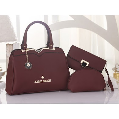 JESSICA MINKOFF BAG ( 3 in 1 Set ) - MAROON