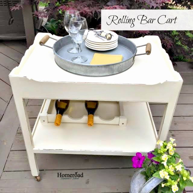 End table turned into a rolling bar and beverage cart www.homeroad.net