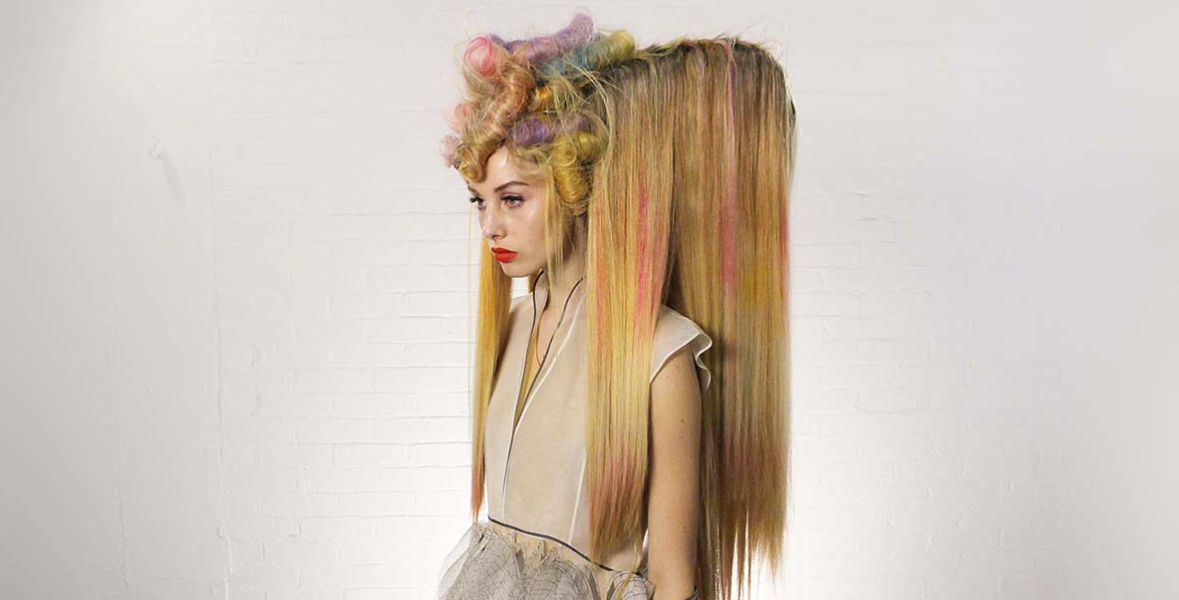 Wella, Trend Vision, pastel, hair, fishtail, neon, mermaid hair, blue, rolls, yellow
