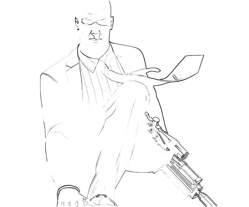 Printable Hitman Absolution Agent 47 Sniper Coloring Pages title=