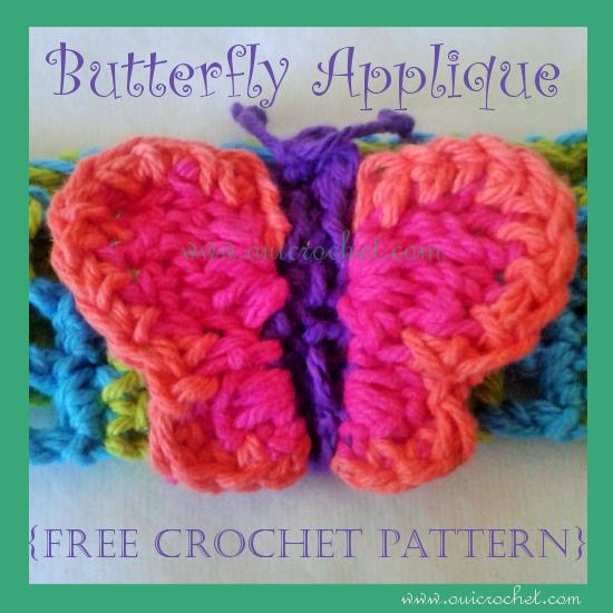 Oui Crochet: Butterfly Applique {Free Crochet Pattern}