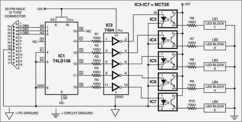 pc driven led display wiring diagram schematic circuit wiring interfacing schema for the led display the outputs of the interfacing schema are decoded inverted and then connected to leds through optocouplers