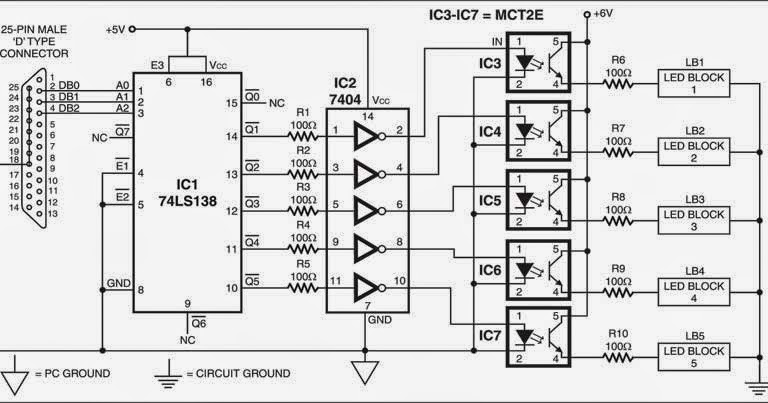 pc driven led display wiring diagram schematic