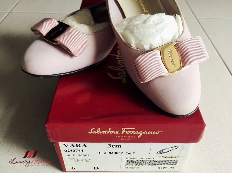 pink salvatore ferragamo vara ballerina pumps nubuck calf