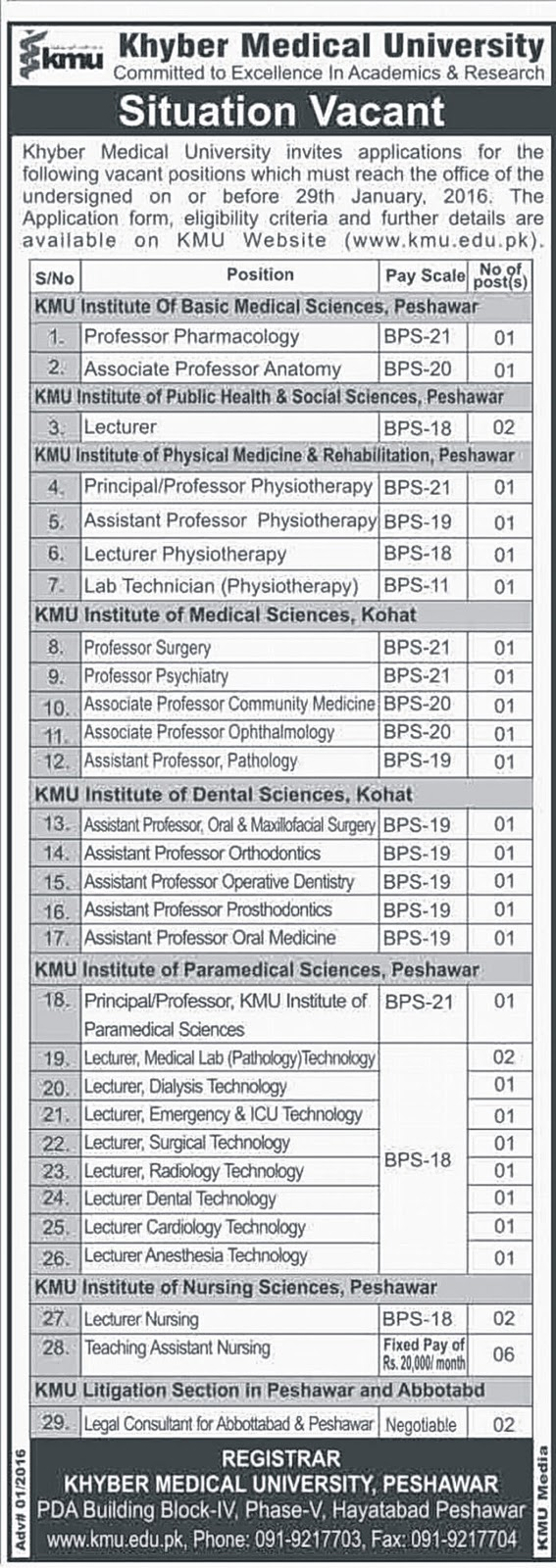 MBBS Doctors Teaching Jobs in Khyber Medical University