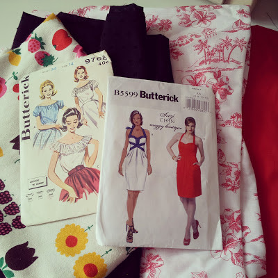 Vintage patterns and fabric bobbins and bombshells