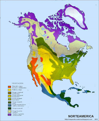 Mapa de la Vegetacion de America del Norte