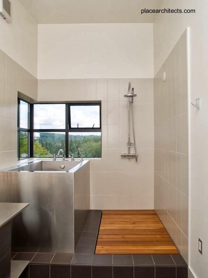 Baño con bañera tina de acero inoxidable