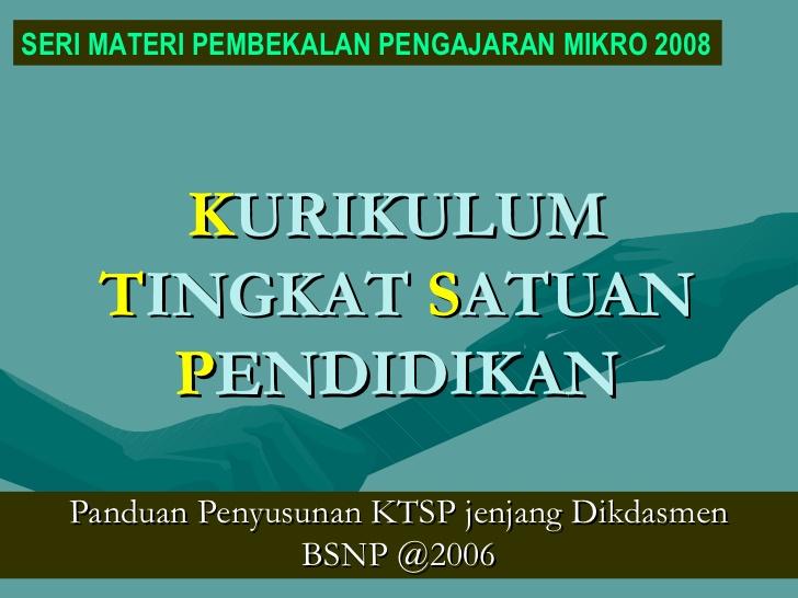 Kurikulum Tingkat Satuan Pendidikan (KTSP)