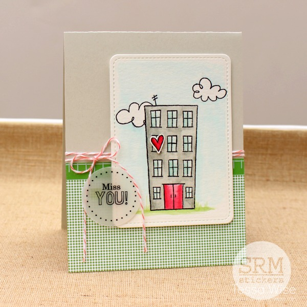SRM Stickers Blog - Miss You Card by Tessa Wise - #card #cardmaking #twine #stickers #clearstamps #janesdoodles #stickerstitches #stitches