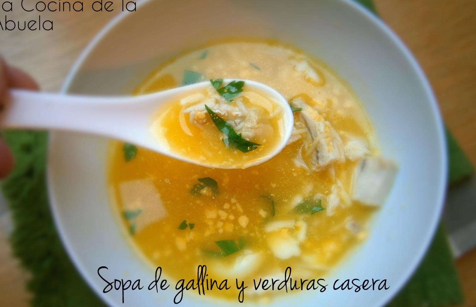 Sopa de gallina y verduras casera - Sopa castellana casera ...