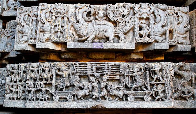 A scene from Mahabharata sculptured on the friezes