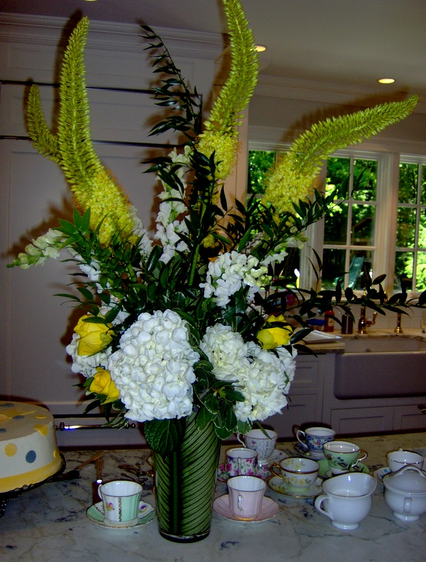 Fabulous flowers for Yellow and Gray Baby Shower