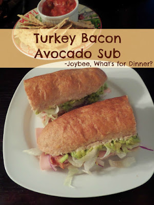 Turkey Bacon Avocado Sub:  Sliced turkey breast, crispy bacon, and creamy avocado stuffed into a soft chewy Honey Whole Wheat Hoagie Roll.