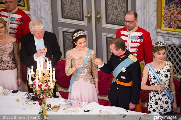 Crown Princess Mary of Denmark, Henri Grand Duke of Luxembourg and Queen Letizia of Spain attend a dinner for officials of Denmark in celebration of the 75th birthday of the Danish Queen at Christiansborg Palace