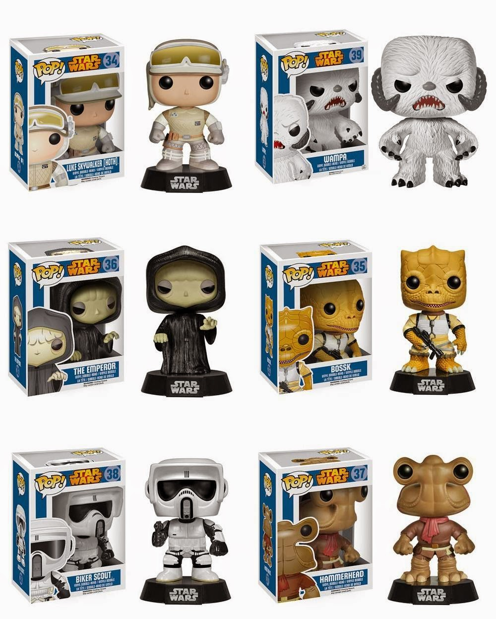 Star Wars Pop! Series 5 Vinyl Figures by Funko - Hoth Luke Skywalker, Wampa, The Emperor, Bossk, Biker Scout & Hammerhead