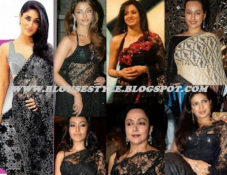 Bollywood beautiful black lace saree