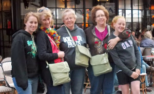 Rachel, Linda, Betty, Jessica & Elise.  Matching 'safe' pocketbooks.  Rue Cler.