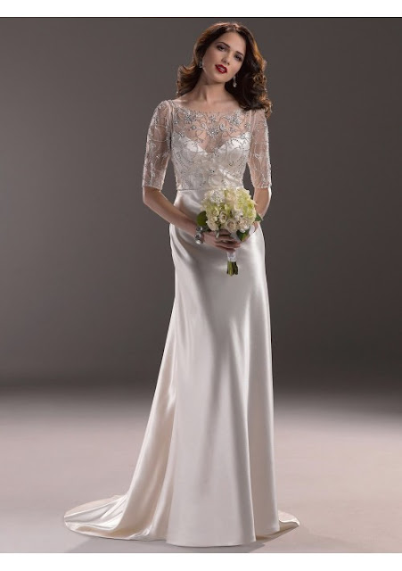 half sleeves wedding dress