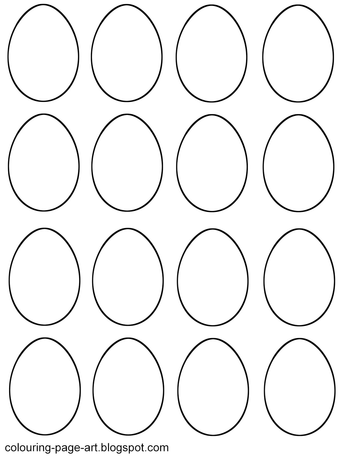 blank easter egg templates colouring page art With small easter egg template