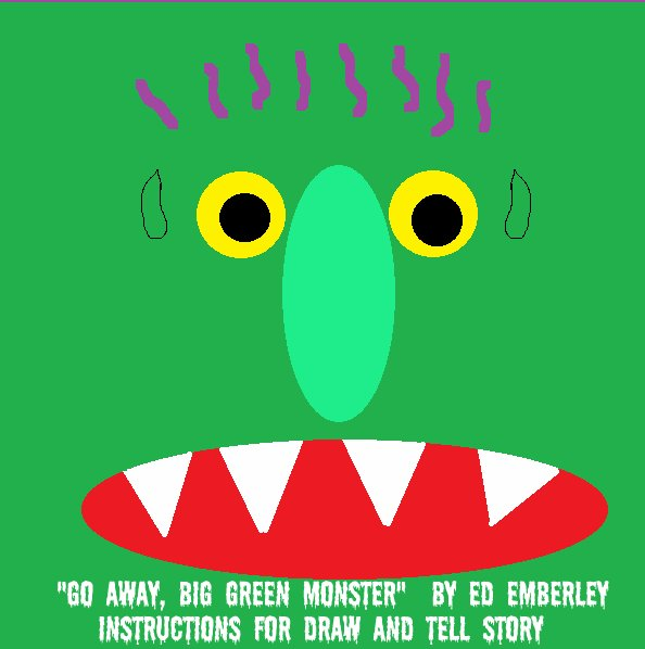 go away big green monster coloring page - go away big green monster draw and tell