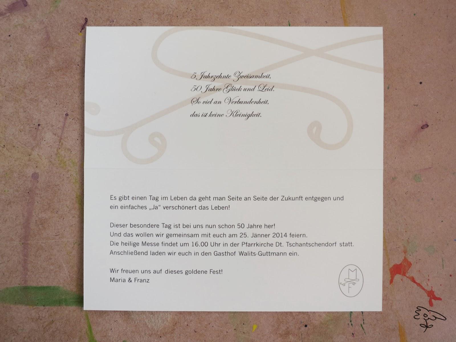 Die Bia: Einladung Goldene Hochzeit