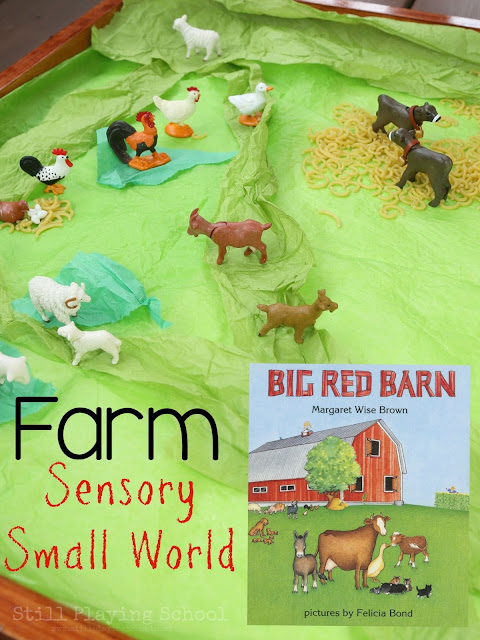 Farm themed sensory small world play for kids to go with the book Big Red Barn