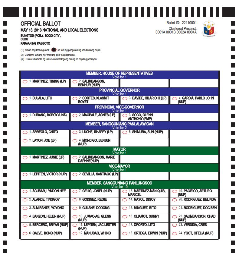 BOGO CITY Ballot Templates for the 2013 National and Local Elections ...