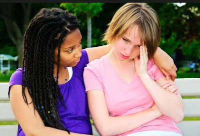 Are You Playing Victim - woman girl comforting other woman