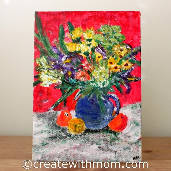 Create with mom paintings we did inspired by the acrylic for Painting flowers in acrylic step by step