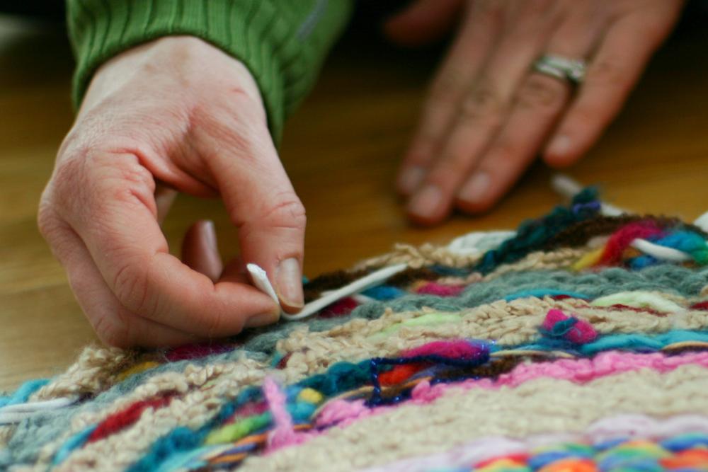 Woven Finger Knitting Hula Hoop Rug Diy Flax Amp Twine
