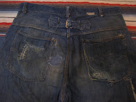 30's                 PINS BACKLE BACK               DENIM WORK PANTS            WITH ARCUATE STITCH