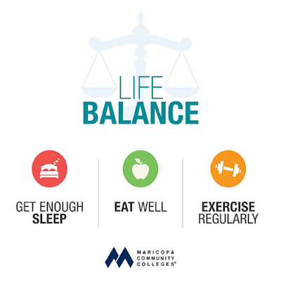 Image of a scale.  Text Life Balance: Get Enough Sleep. Eat Well.  Exercise Regularly.  A Message from the Maricopa Community Colleges