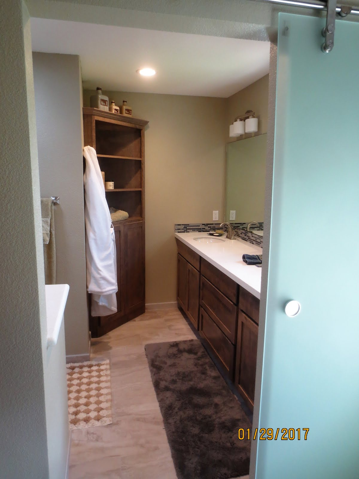 Good That is now a double sink vanity and I had enough room for a corner linen closet These were custom made for me by a local cabinet maker and I can ut say