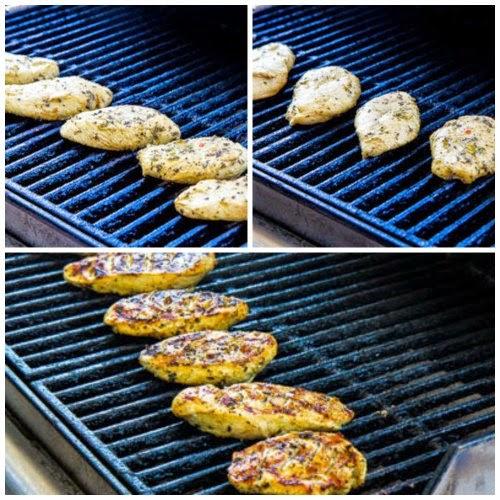 Rosemary Mustard Grilled Chicken or Zucchini Recipe found on KalynsKitchen.com