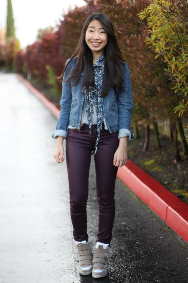 coated jeans sneaker wedges
