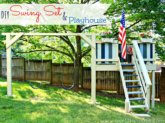 Our fifth house diy swing set playhouse for Diy adult swing set
