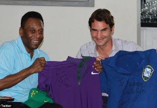 Federer went to Pele's residence in Brazil to exchange gifts