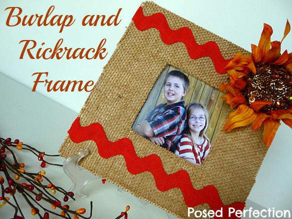 Burlap and Rickrack Sunflower Frame