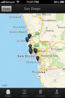 HotelTonight map shows location of discounted hotels