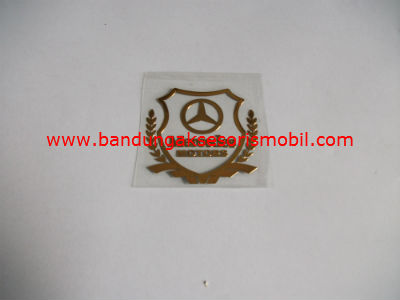 Emblem Alumunium Kotak Kecil Logo Mobil Mercedes