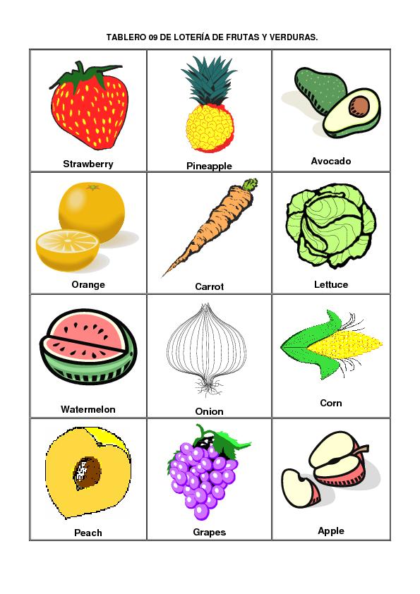 Im genes y nombres de frutas en ingles material para - Verduras lista de nombres ...