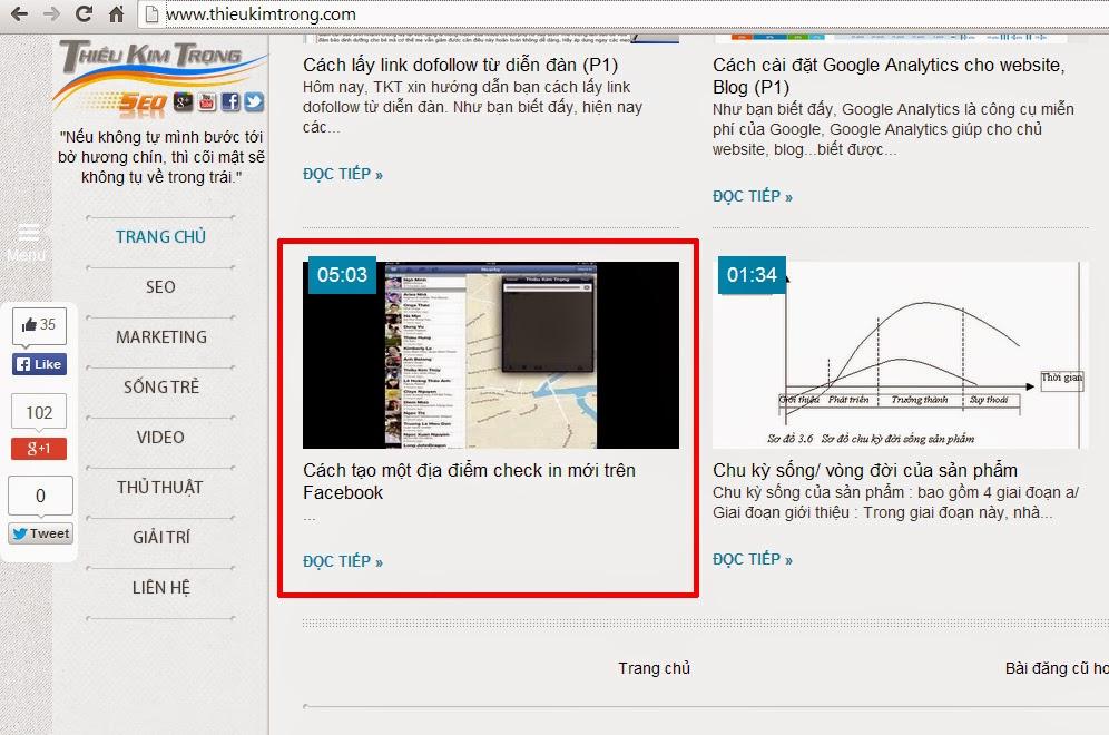 Cách tạo thumbnail cho bài viết về video trên blogspot