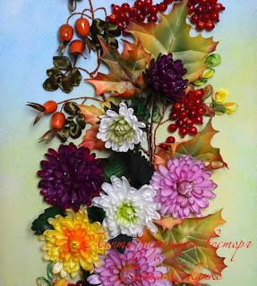 картины вышитые лентами, осенний букет, вышивка лентами осенних цветов